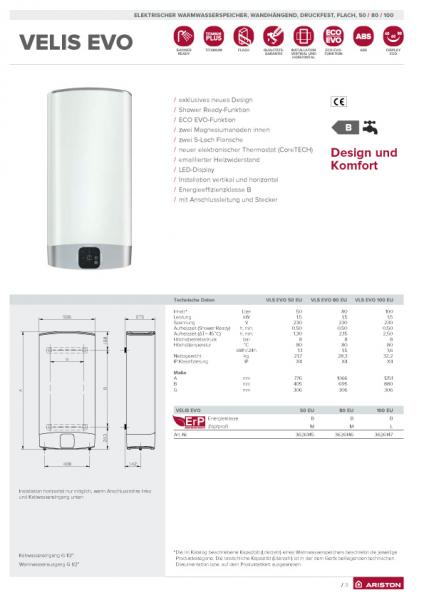Ariston Velis EVO, Warmwasserspeicher